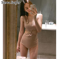 The New South Korean Female Swimsuit Siamese Backless Hollow Spa Beach Resort Sports Style Swimsuit Sexy