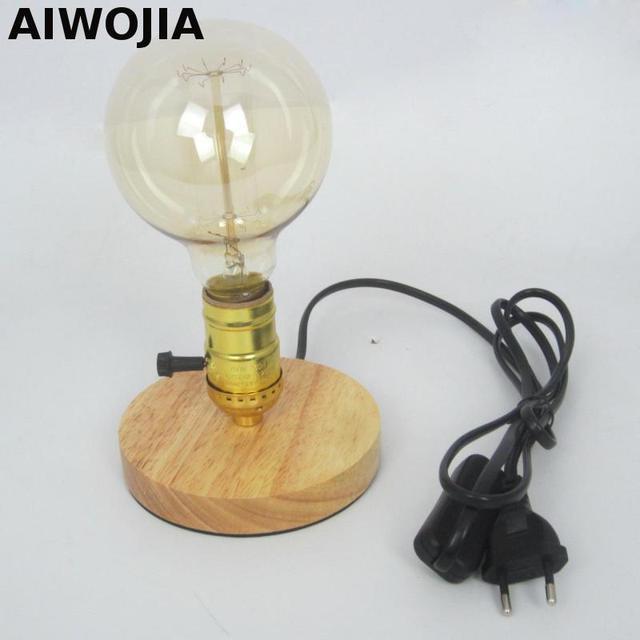 Wooden Desk Lamp E27 Industrial Vintage Edison Wooden Base Socket Desk  Light Table Reading Lamp Power
