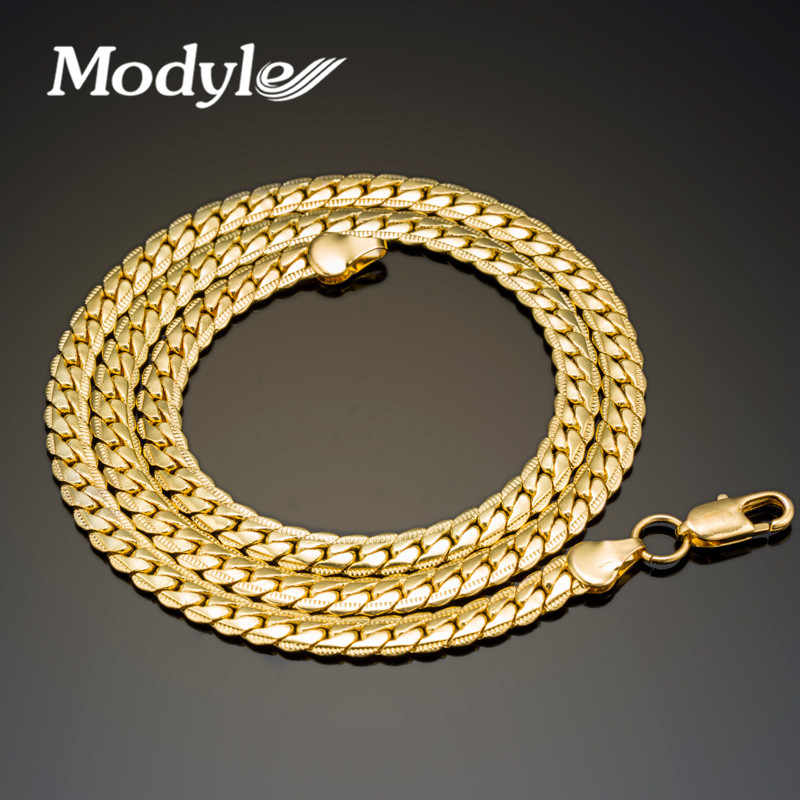 Modyle 2018 New Fashion Men Jewelry 4-8mm Wide Gold-Color Long Chain Necklace For Men Wholesale Free Shipping