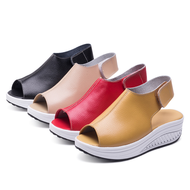 Fashion Summer Sandals Women Shake Shoes Thick Wedges Slope Platform Head Leather Sandals Women Shoes