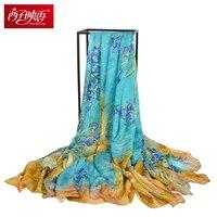 12MU 100 Pure Silk Scarves Women Winter Scarf Luxury Brand Thicken Silk Wraps Bandana Echarpes Foulard