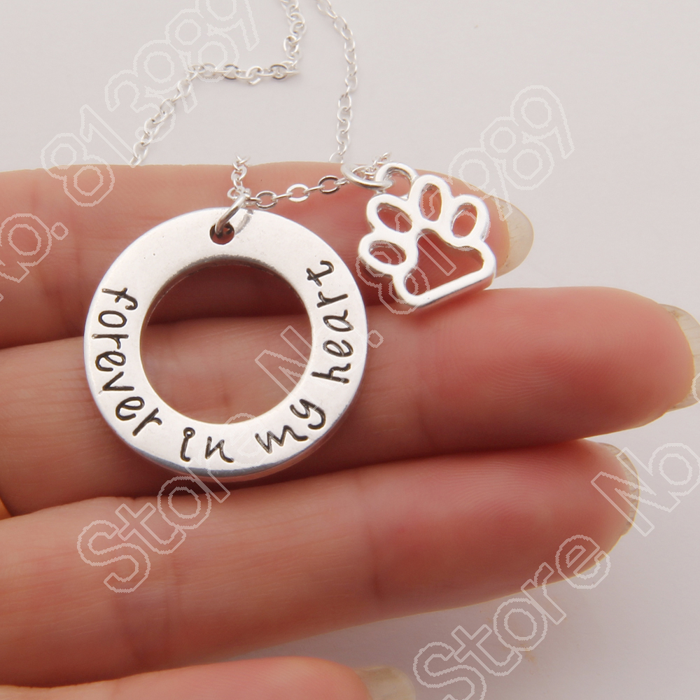 Forever In My Heart Dog Necklace Memorial Tag Horse Cat Paw Print Necklaces & Pendants Silver Plated Women Choker Lead Free