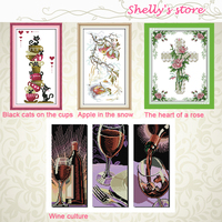 Apple In The Snow Wine Culture Rose Pattern Stamped Or Counted DIY Cross Stitch Kits For
