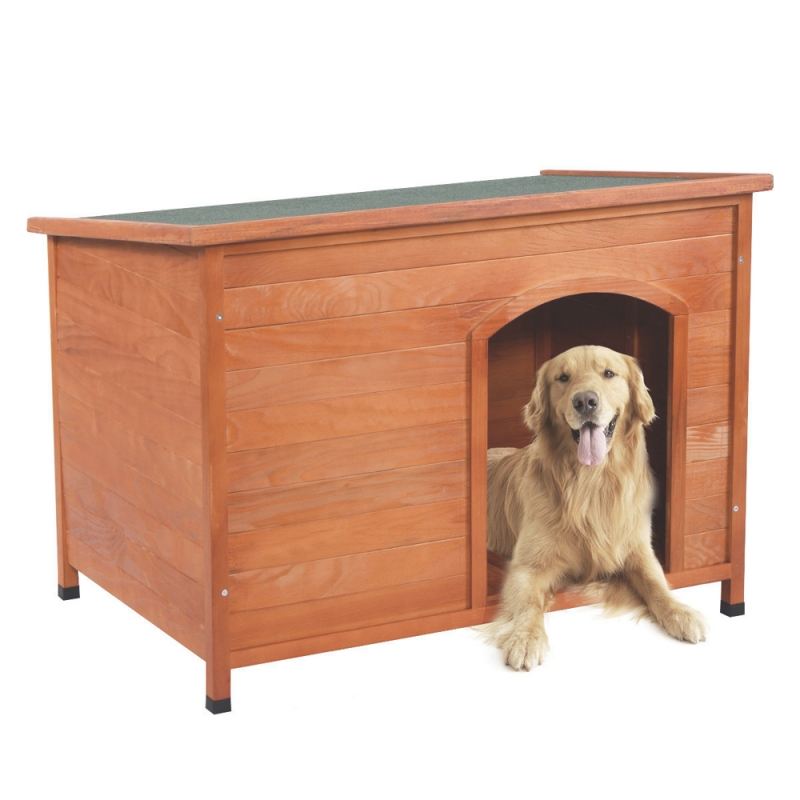Tenozek Wood Pet <font><b>Dog</b></font> House Shelter Large <font><b>Kennel</b></font> Weather Resistant Wood Room In/Outdoor Raised Roof Balcony Shelter L -US stock image