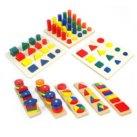 Wooden Shape Matching 8 In 1 Set Cylinder Educational Blocks Toys For Children