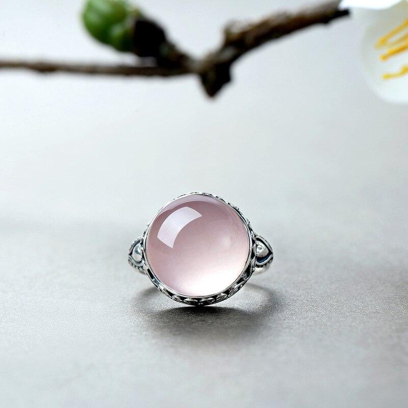 Image 4 - Genuine Solid Ring Silver 925 Rings Women Rose Quartz Designer  Jewelry Luxury Natural Stone Elegant Fine Jewelry RingenRings   -