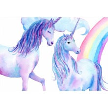 Laeacco Unicorn Rainbow Watercolor Painting Baby Newborn Birthday Photography Background Customized  Backdrop For Photo Studio