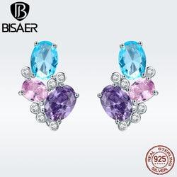 BISAER 925 пробы, серебряные, синие серьги-гвоздики с кубическим цирконием для женщин, женские свадебные модные ювелирные изделия, Bijoux Brincos GXE579