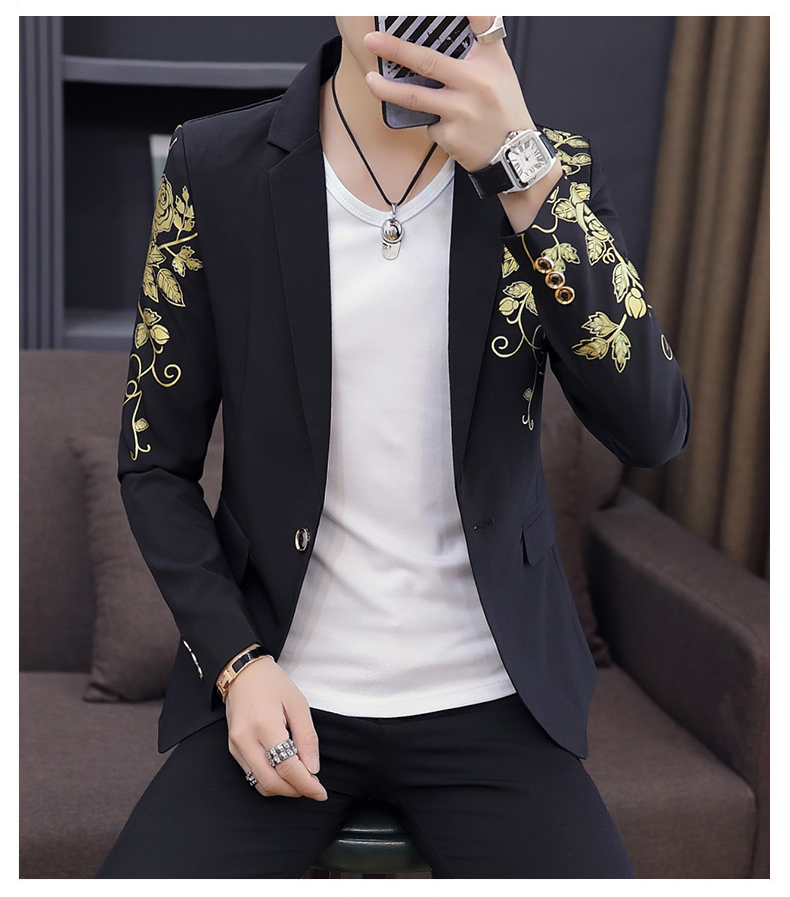 2019 Fashion Single Button New Casual Men's White Black Men Blazers Long Sleeves Printing Banquet Suits Blazer  S/M/XL/3XL