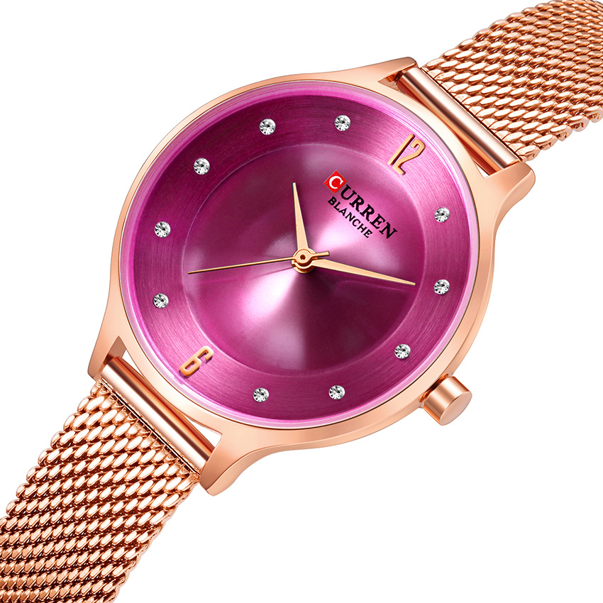 CURREN Rose Gold Women's Wristwath Ultra Thin Stainless Steel Woman Watch 2019 Brand Luxury Purple Elegant Lady Wrist Watch(China)