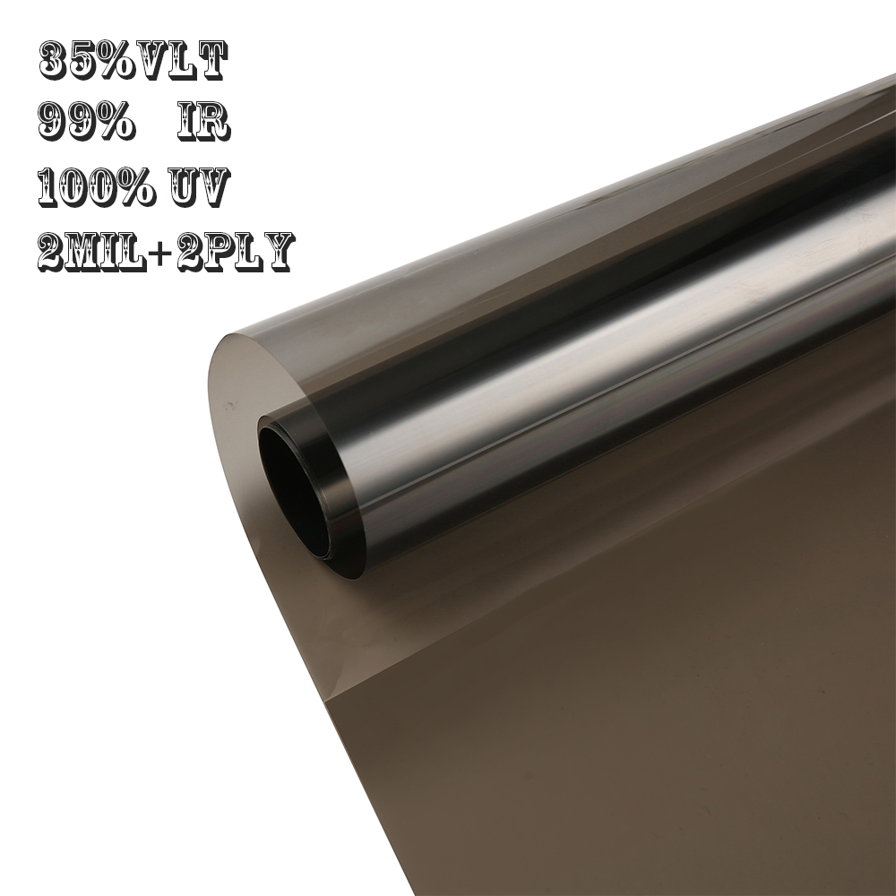 1.52*30 m 100% UV lumière noire fenêtre teinte Film rouleau-ombre sombre 35% VLT pour voiture et résidentiel verre d'intimité facile bricolage