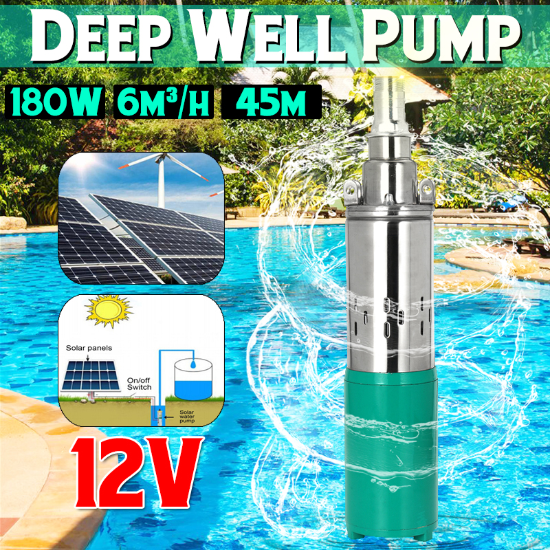 Nova Bomba de Água Solar 12 V 180 W 6000L/h 45 m Parafuso Bomba Submersível Poço Profundo Bomba Bomba DC agrícola de irrigação Do Jardim de Casa