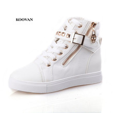 Koovan Women Sneakers Boots 2018 Spring Rivets High Help Canvas Shoes