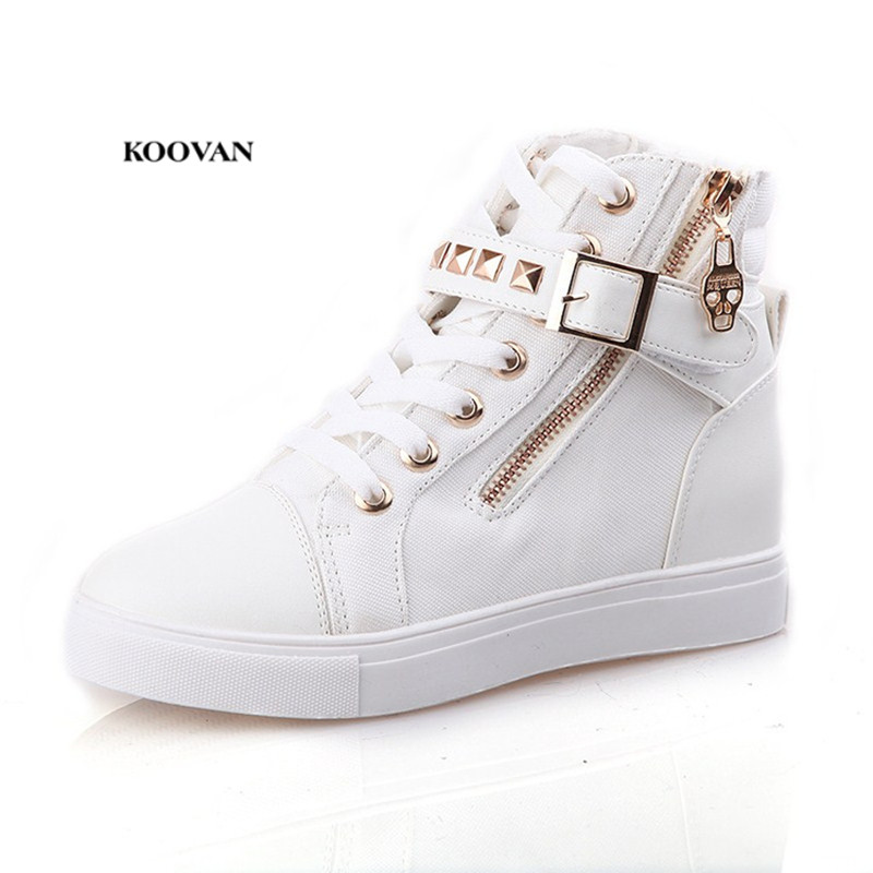 Koovan Women Sneakers Boots 2018 Spring Rivets High Help Canvas Shoes Female hook & loop ...