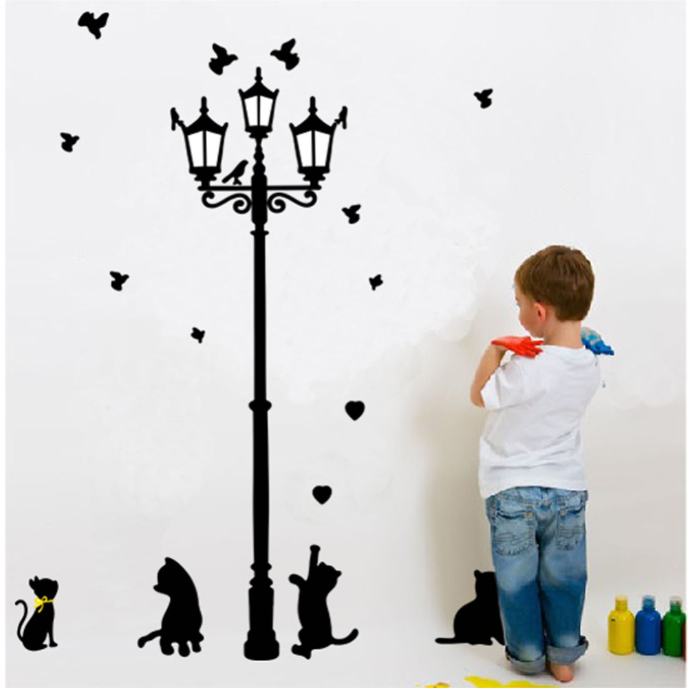 Lamp light wall art decor removable mural vinyl decal sticker purple - Hot Sale Style Naughty Cats Under The Street Light Black Cats Wall Decals Living Room Bedroom Removable Wall Stickers Murals