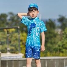 Одна деталь детский купальник, детские купальники для мальчиков, с изображением мультипликационных персонажей для детей Плавание ming костюм, костюм для мальчиков и девочек детская Плавание одежда с Кепки