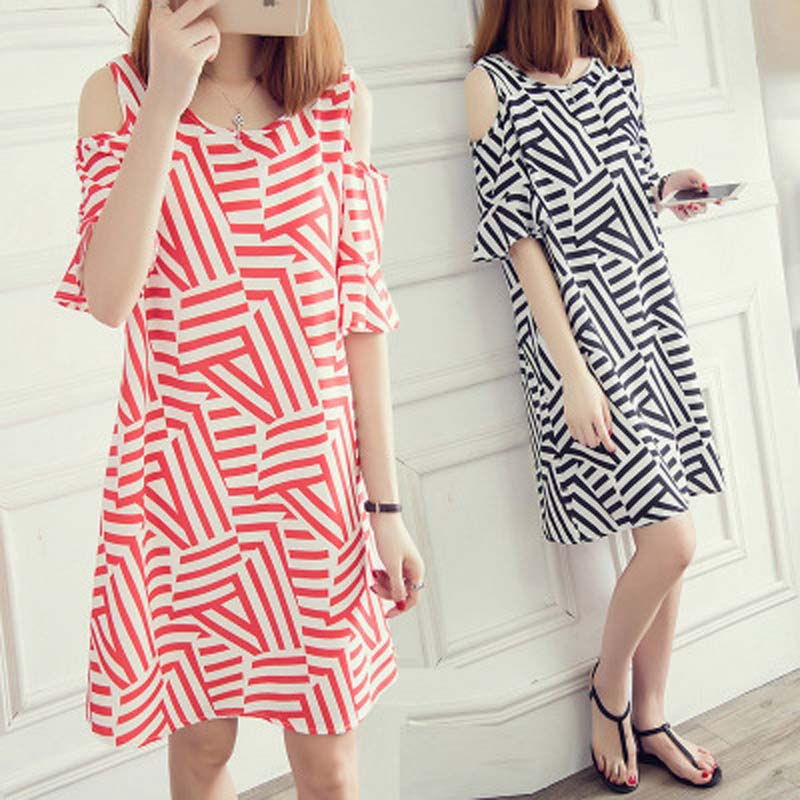 Dresses Women Summer 2019 New Fashion Korean Edition Striped Shoulder Hidden Meat Abdomen Aging dress image