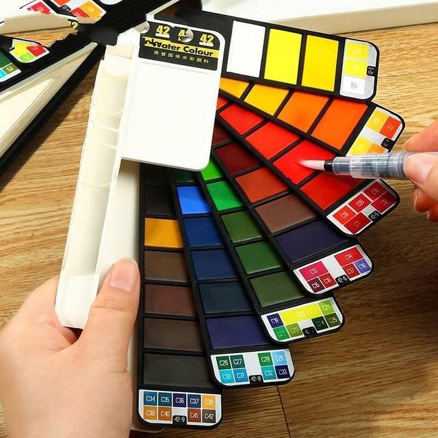 Juego portátil de pintura de pigmento de acuarela sólida con pincel de agua Color brillante bolígrafo multifunción
