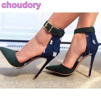 Women Chic Pointed Toe Pumps Concise Army Green Patchwork Dress Shoes Stiletto Heels Blue Denim
