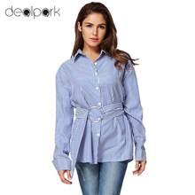 c9075d2fc0 Nueva moda mujer rayas Camisas manga larga botón abajo camisa de cuello  suelto dama blusa Tops con cinturón blusas azul