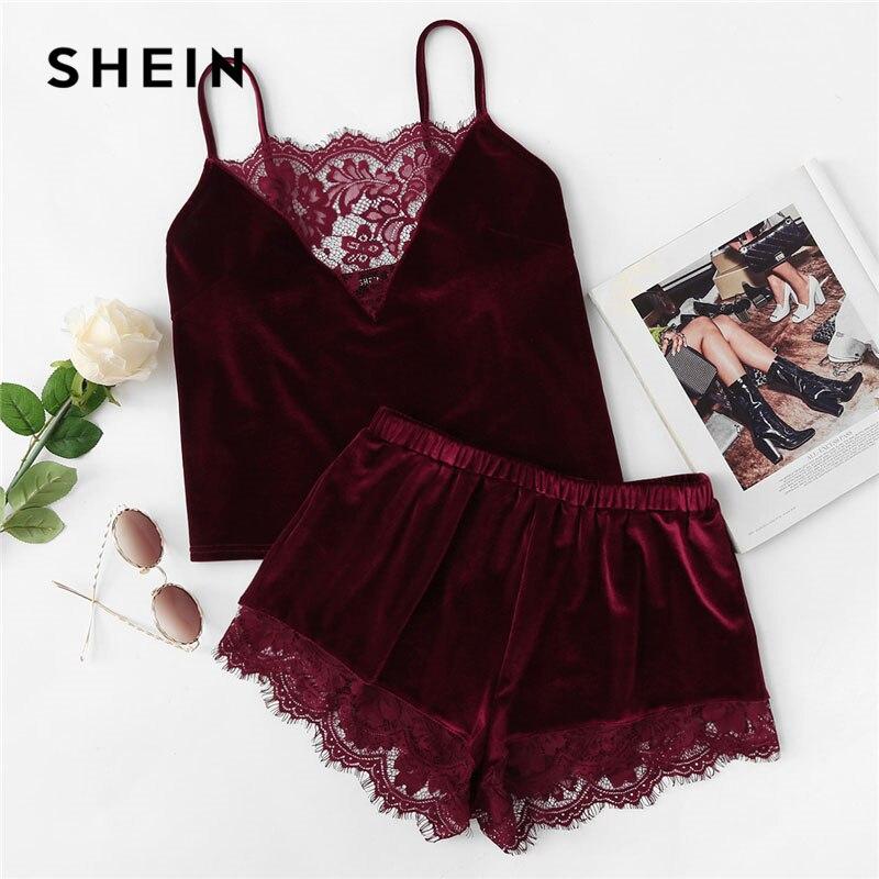 SHEIN 2018 Dentelle Velours Cami & Shorts Pyjamas Set Femmes Bourgogne Plaine Spaghetti Strap Manches Sexy D'été de vêtements de Nuit