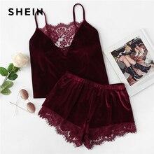 SHEIN 2018 Lace Trim Velvet Cami Shorts Pajamas Set Women Burgundy Plain Spaghetti Strap Sleeveless Sexy Summer Sleepwear
