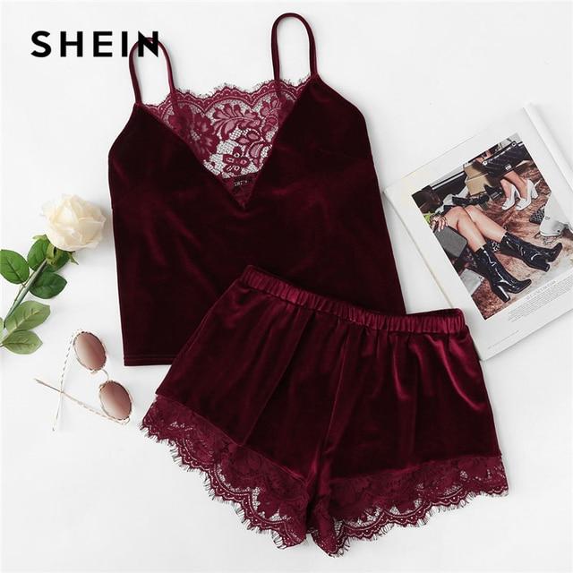 fa13d79039 SHEIN 2018 Lace Trim Velvet Cami   Shorts Pajamas Set Women Burgundy Plain  Spaghetti Strap Sleeveless