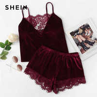 SHEIN 2018 Lace Trim Velvet Cami Shorts Pajamas Set Women Burgundy Plain Spaghetti Strap Sleeveless Sexy Summer Sleepwear