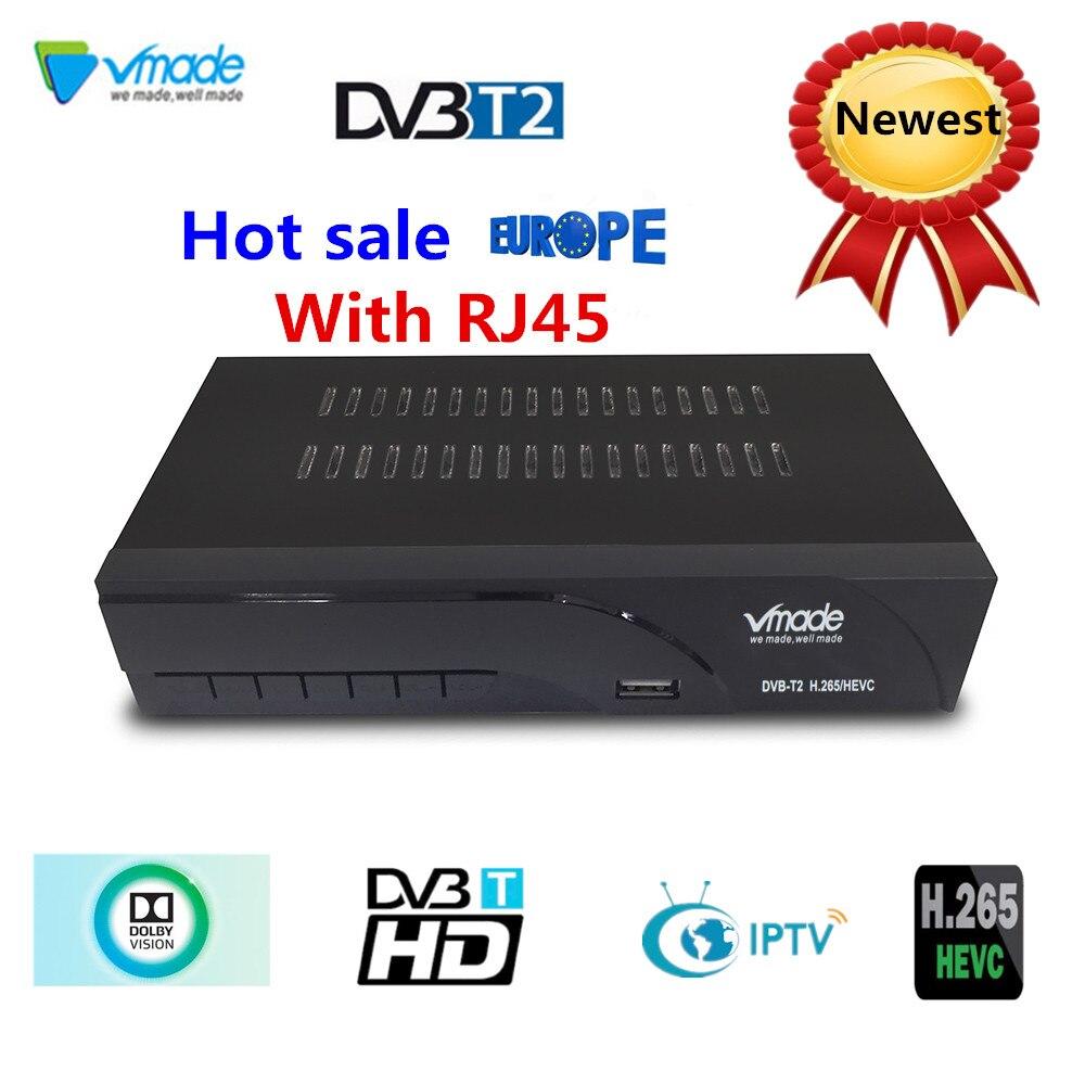 Vmade plus récent DVB-T2 récepteur de télévision numérique prend en charge H.265 WIFI YouTube récepteur de dvb-t2 offre spéciale Europe DVB-T récepteur terrestre