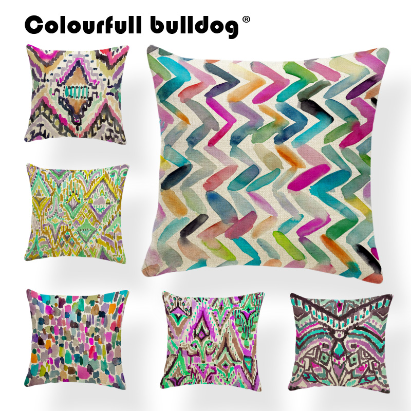 Wholesale Watercolor Geometry Print Pillow Cases Rectangle