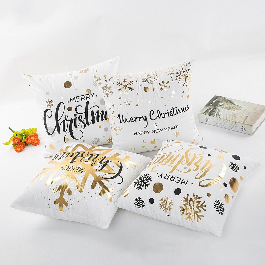 Christmas Series Bronzing Luxury Comfortable Linen Polyester Home Decorative Pillows Cover for Pillowcase