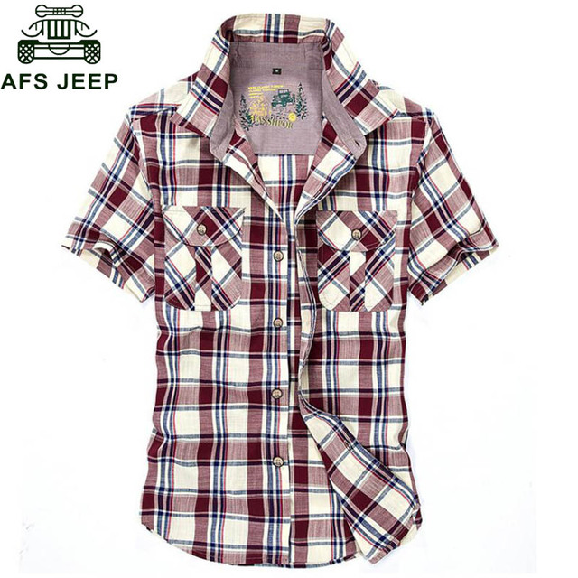 Afs Jeep Brand Clothing 2017 Summer Shirt Men Big Size 4XL Plaid Casual Loose camisa masculina Breathable Soft Cotton Shirt Male