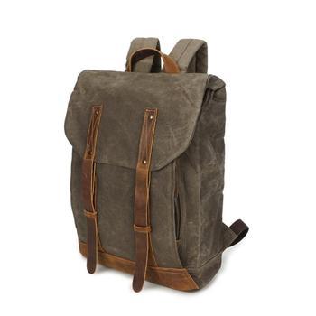 "Vintage Style Men 14"" Laptop Travel Wax Waterproof Canvas Backpack Student Retro School Backpack High Quality Bookbag Rucksack"