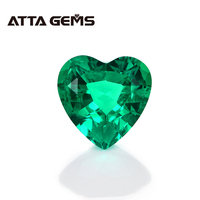 Green Emerald from Columbian Hearts Shape 6mm*6mm 0.9 Carats Hydrothermal for Jewerly Earring Design Top Quality Emerald