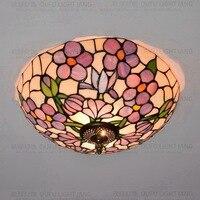 16 дюймов плоти страна цветы Тиффани потолочный светильник пятнистости Стекло лампы для Спальня гостиная E27 110 240 В