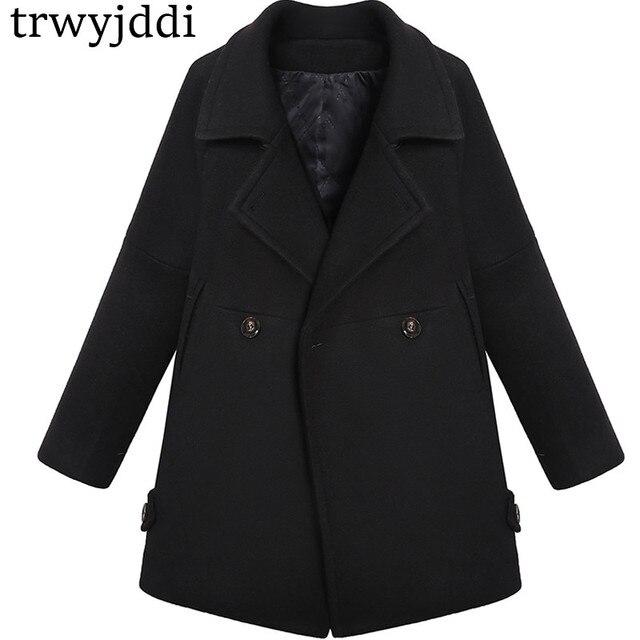 381119e03 2018 lana negro hembra abrigo corto párrafo invierno chaquetas moda cazadora  gruesa mujeres de lana otoño