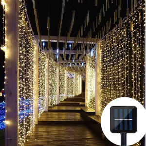 Image 1 - 3X3M 300 LED Solar Curtain String Lights Waterproof 8 Modes Outdoor Garden Patio Decorations lights for Wedding Party Christmas