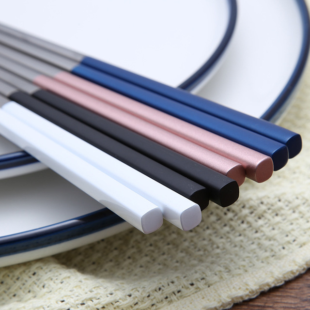 5 Pairs Chinese Chopsticks 304 Stainless Steel Non-slip Chopsitcks Set With Gift Box Black Pink Blue Sushi Chop Stick For Dinner