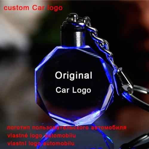 Corrente Chave Do Logotipo do carro Do Laser Gravado Colorido LEVOU Luz do Anel Chave Keychain De Vidro Acessórios de Decoração Pingente de PRESENTE