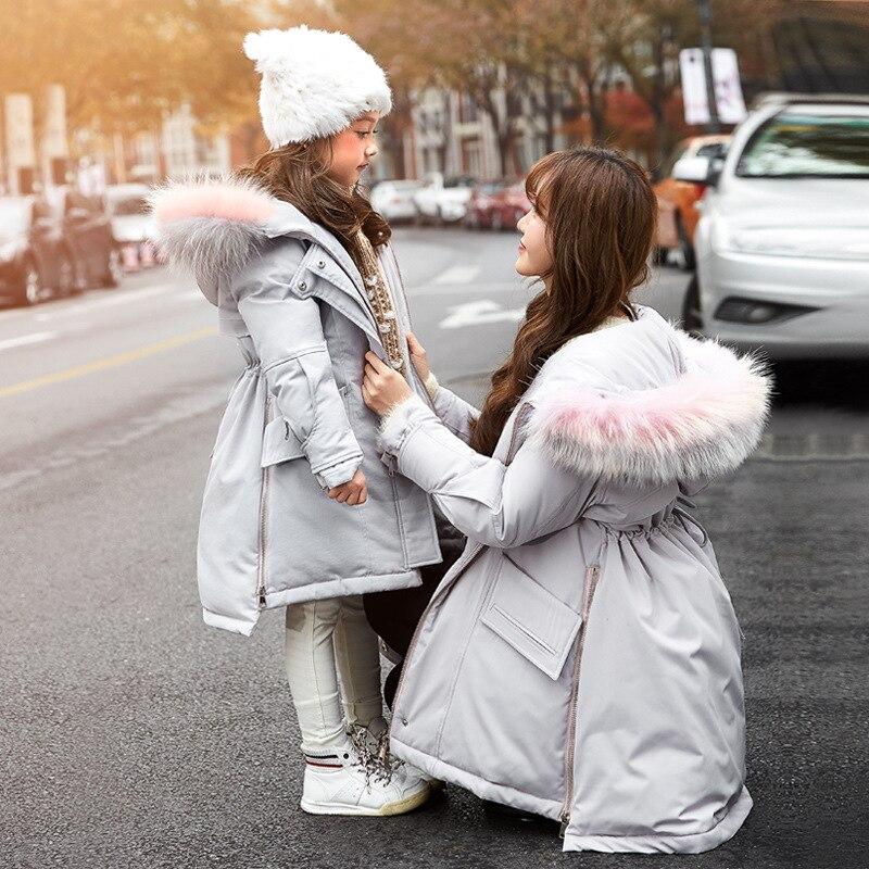 Kinder Ente Daunenjacke Mädchen Langen Abschnitt Verdicken Tochter Mutter Familie Passenden Outfit mit Zwei-farbe Pelzkragen