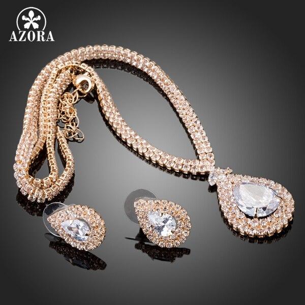 AZORA υπέροχο χρυσό χρώμα διαφανές CZ - Κοσμήματα μόδας - Φωτογραφία 2