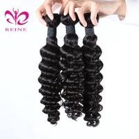 Reine Hair Indian Hair Weave Deep Wave Bundles Natural Black Color 100% Human Hair Extension Deep Curly Hair Bundles