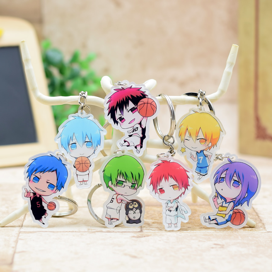 Kuroko no Basket acrylic Keychain Pendant Car Key  Accessories Cute Japanese Cartoon Kuroko's Basketball 7 Styles H003 LTX1 attack on titan shingeki no kyojin acrylic keychain action figure pendant car key accessories key ring jjjr006 ltx1