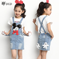 Girls Jeans Skirt Girl Denim Skirt Cute Mouse Bow Girls Denims Suspender Overalls Girl 4-12 Years Casual Big Kids Denim Clothes
