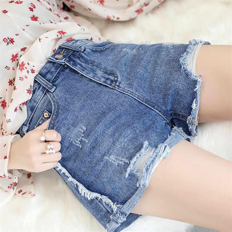 Nowy nabytek dorywczo lato Hot sprzedaż Denim szorty damskie 2019 mody wysokiej Waists luźne Sexy krótkie Jeans Casual Women szorty JIA274