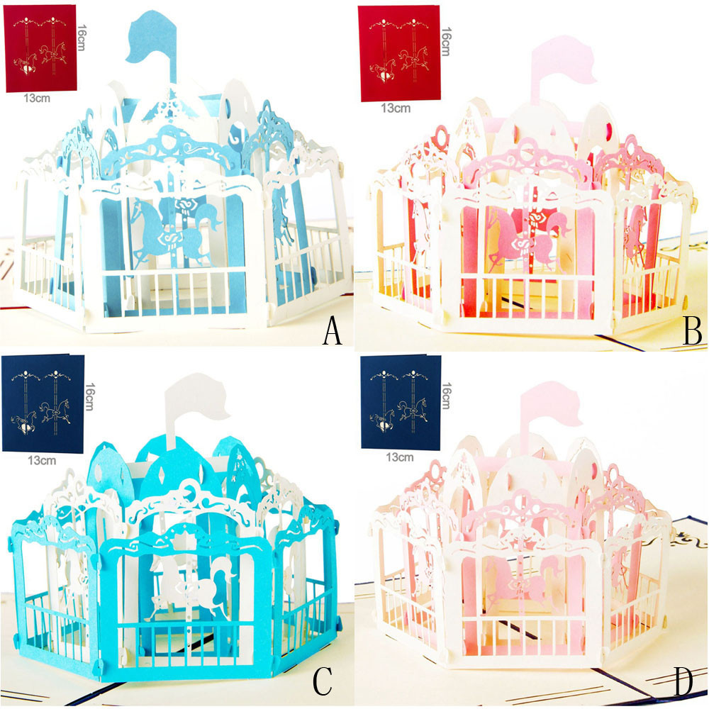 Aliexpress Buy 3d Pop Up Cards Carousel Lover Happy Birthday