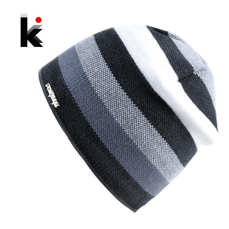 Men's Skullies Hat Bonnet Winter Beanie Knitted Wool Hat Plus Velvet Cap Thicker Stripe Skis Sports Beanies Hats for men