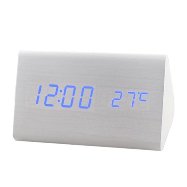 Voice Control Calendar Thermometer e Wood Wooden LED Digital Alarm Clock USB/AAA White Wood Blue LED