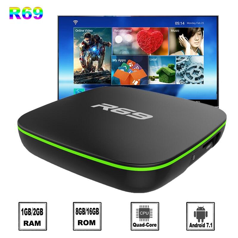 20 teile/los R69 Allwinner H3 quad core Android 7.1 smart tv box 1GB 8GB 2,4G WiFi 100m LAN 4K set top box 2GB 16GB media player-in Digitalempfänger aus Verbraucherelektronik bei  Gruppe 1
