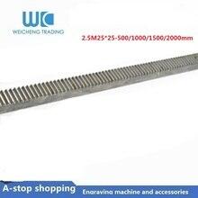 1pc Mod2.5 spur Gear rack right teeth 25x25 length 500/1000/1500/2000mm 45# steel CNC parts modulus2.5 M2.5